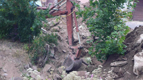 Excavator earth mover working, close-up view Stock Video Footage