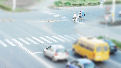 City traffic aerial view tilt shift time lapse Footage