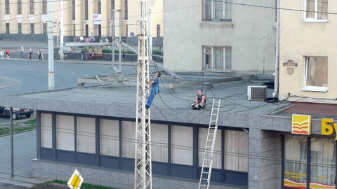PETROZAVODSK, RUSSIA -July, 08: Men repairing elec Footage