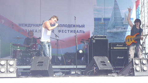 PETROZAVODSK, RUSSIA - JULY 23: 'Radiosny' rock ba Stock Video Footage