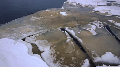 Crack of Onego lake ice, Petrozavodsk Stock Video Footage