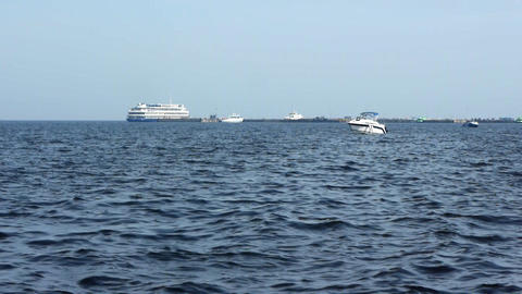 Sailboat in regatta on blue sea Footage
