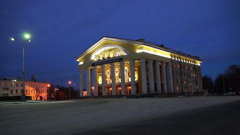 Russian Dramatic Theater in winter evening, Petroz Stock Video Footage