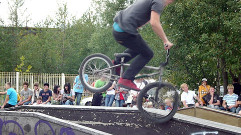 PETROZAVODSK, RUSSIA - AUGUST 27: Anonimous bmx ri Footage