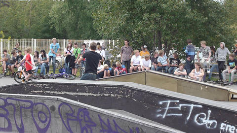 PETROZAVODSK, RUSSIA - AUGUST 27: Anonimous bmx ri Stock Video Footage