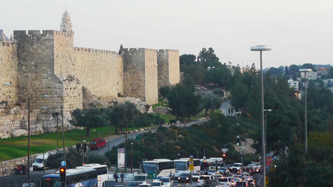 Walls of Jerusalem old city and Israel flag on it Footage