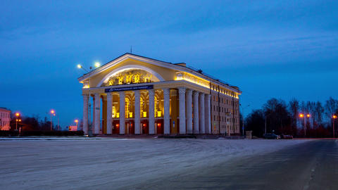 Evening view on Theater of Russian Drama, Petrozav Footage