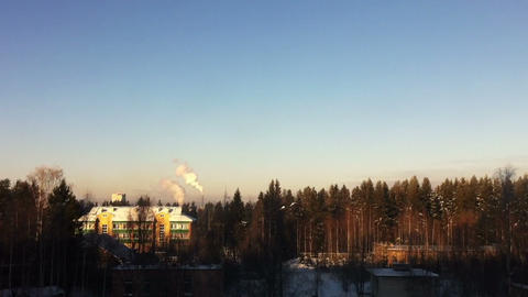 Winter landscape with smoking factory pipes timela Footage
