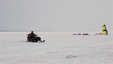 Riding snowmobile Footage