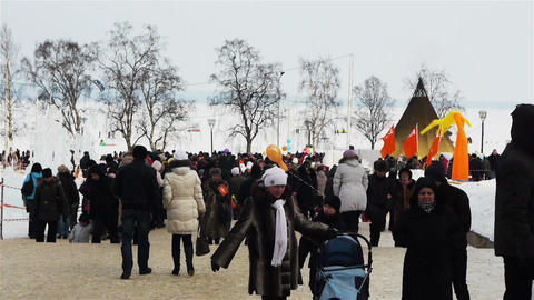 Crowd on Hyperborea ice sculpture festival in Petr Footage