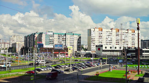 Sunny view of Saint Petersburg neighborhood with K Footage