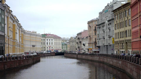 Beautiful facades of historical center at Moyka ri Footage