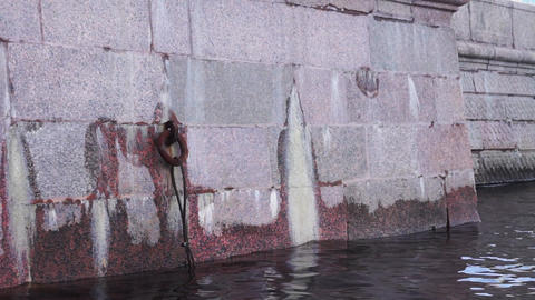 Granite of Neva river bank in St. Petersburg Footage