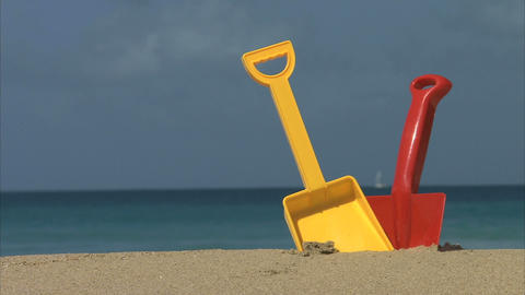 Spades On Beach stock footage