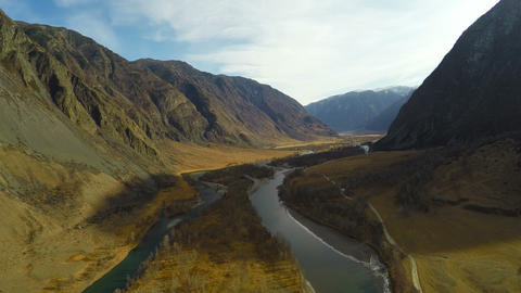 4K Aerial Footage Mountain River Canyon at Sunset Footage