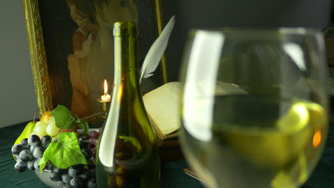 4K UHD Dolly Shot Of Wine Ancient Manuscript And P stock footage