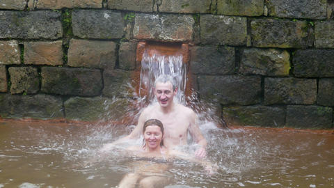 Couple Taking Bath in Hot Springs Footage