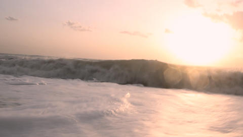 Surf autumn sea at sunset Live Action