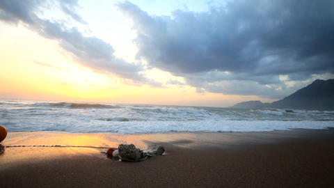 morning sunrise coast of Mediterranean sea Footage