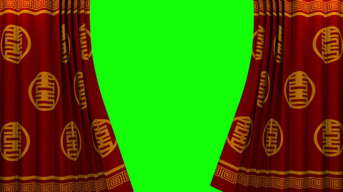 Chinese New Year Red And Gold Pattern Curtain With stock footage