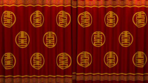 chinese new year red and gold pattern curtain with Stock Video Footage