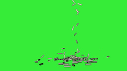 Falling 3D Bullet Shells Side View On Green Screen stock footage