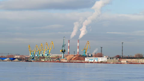 Industrial Landscape In Winter Day In An Industria stock footage