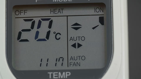 Screen of an aircon machine with temperatures Footage