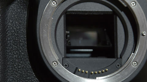 Camera lens holder where lens is attached Footage