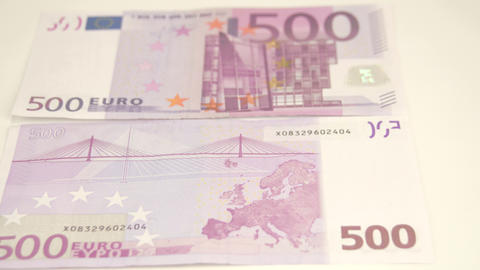 Showing of 500 Euro bills front and back details Footage