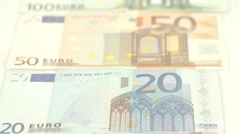 The back details of some Euro bills Live Action