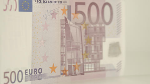 Showing off the 500 Euro bills back detail Footage