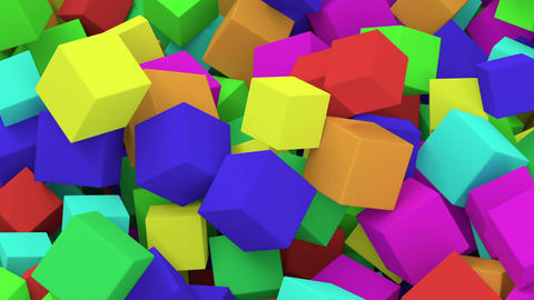 Falling Colorful Cubes stock footage