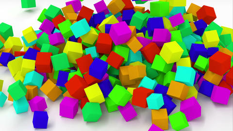 Falling multicolored cubes Animation