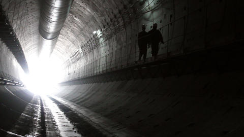 Tunnel construction 006 Stock Video Footage