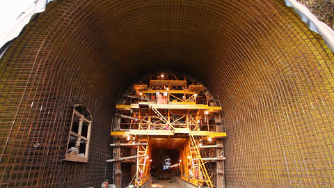 Tunnel construction 001 Stock Video Footage