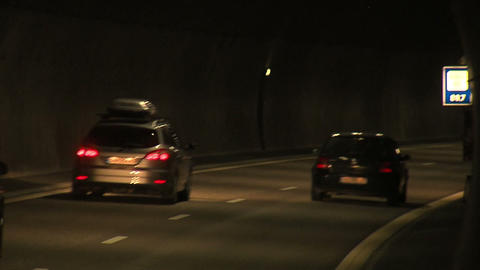 Cars in a tunnel 1 Stock Video Footage