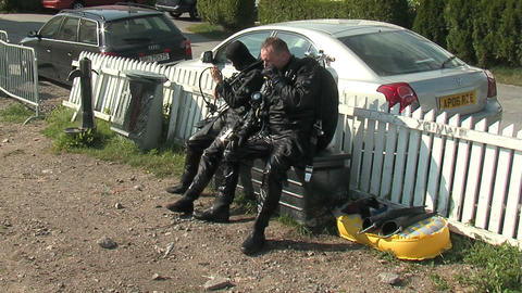 Divers on the shore 1 Stock Video Footage