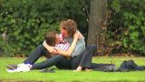 Lovers On The Grass 1 stock footage