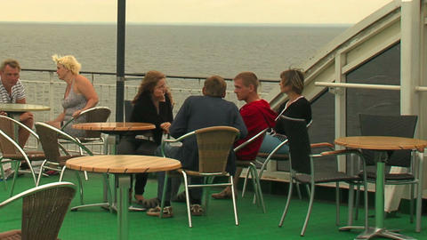Passengers on the deck of the liner 2 Stock Video Footage