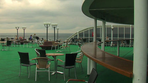 Passengers on the deck of the liner 5 Stock Video Footage