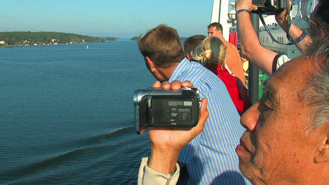 Passengers on the deck of the liner 11 Stock Video Footage