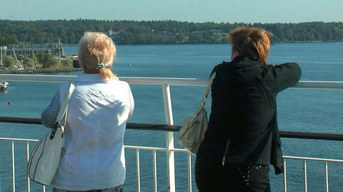 Passengers on the deck of the liner 14 Stock Video Footage