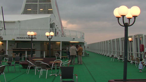 Passengers on the deck of the liner 6 Stock Video Footage