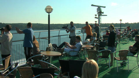 Passengers on the deck of the liner 8 Stock Video Footage
