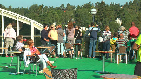 Passengers on the deck of the liner 13 Stock Video Footage