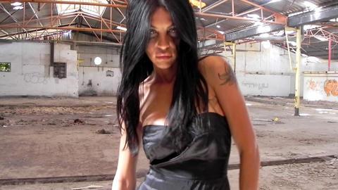 sexy beautiful girl dancing woman black dress warehouse... Stock Video Footage