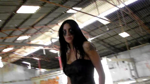 sexy beautiful vampire girl walking woman black dress... Stock Video Footage