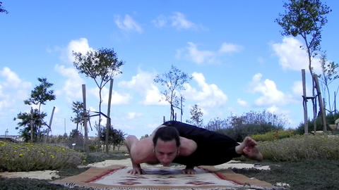 Fitness - Man exercise healthy peaceful Yoga lifestyle beach Stock Video Footage