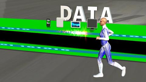 Data Stream with Running Man: +Loop Animation